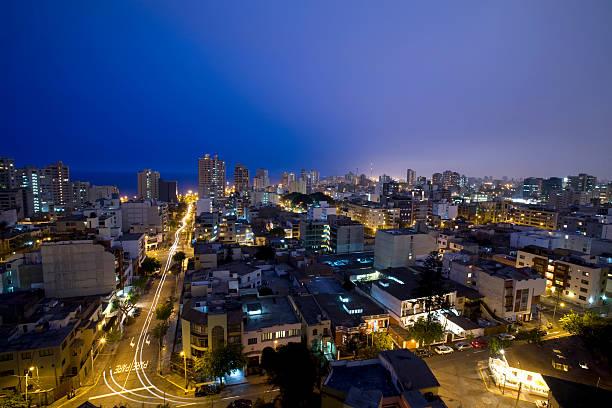 Night landscape shot of Miraflores Lima, Peru stock photo