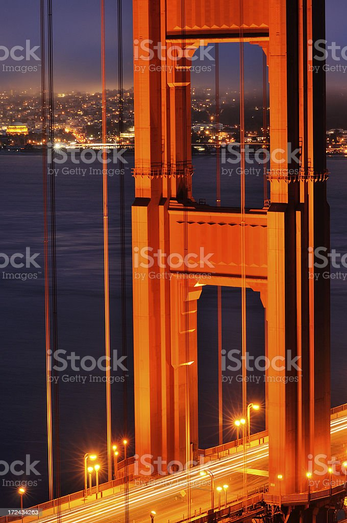Night landscape with close-up Golden Gate Bridge, San Francisco, USA royalty-free stock photo