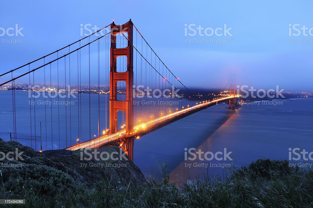 Night landscape with Golden Gate Bridge, San Francisco, USA royalty-free stock photo