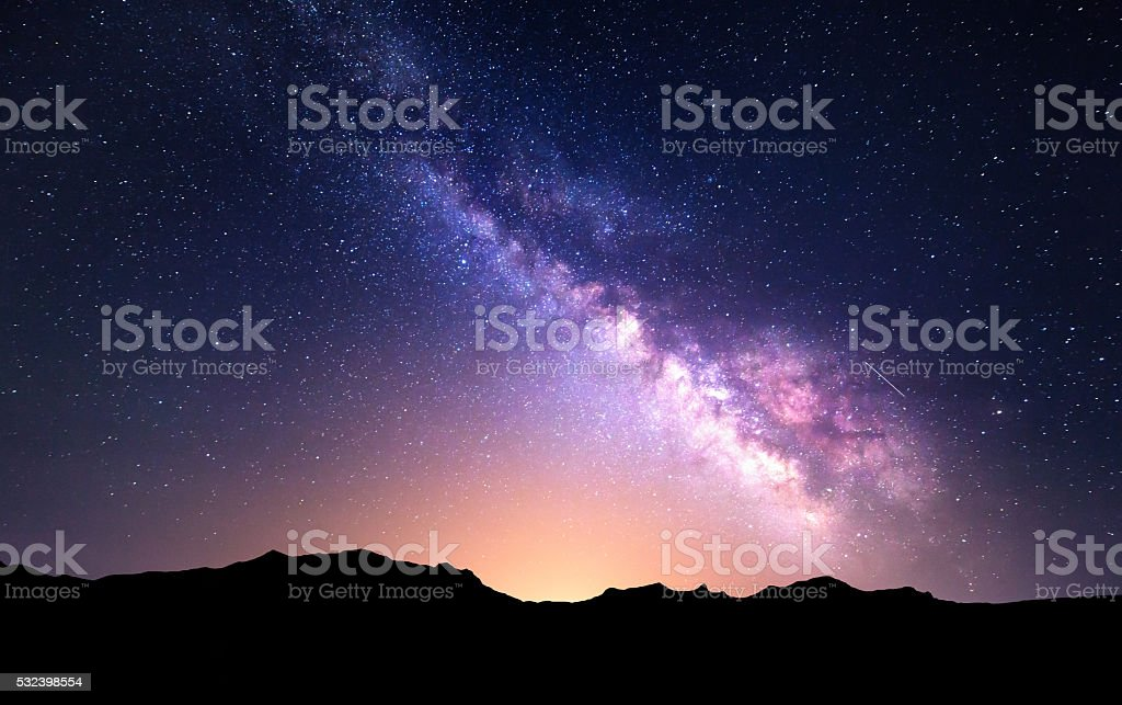 Night landscape with Milky Way. Starry sky, Universe stock photo