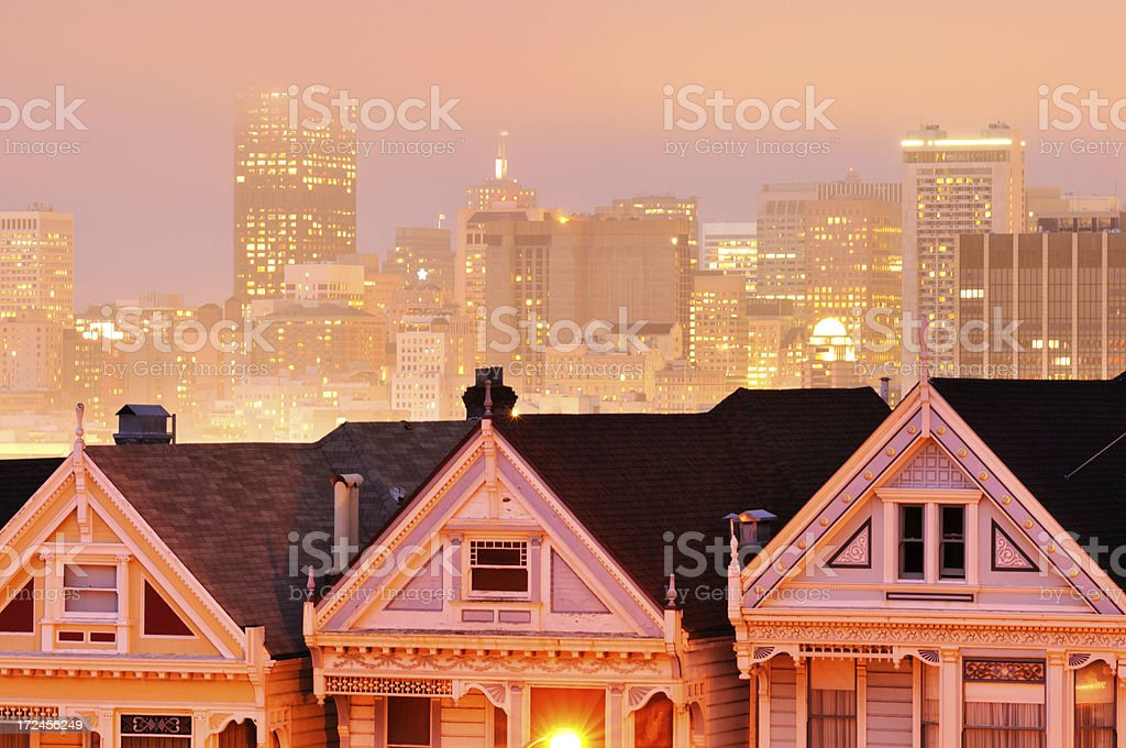 Night landscape with Painted Ladies, Alamo Square, San Francisco royalty-free stock photo