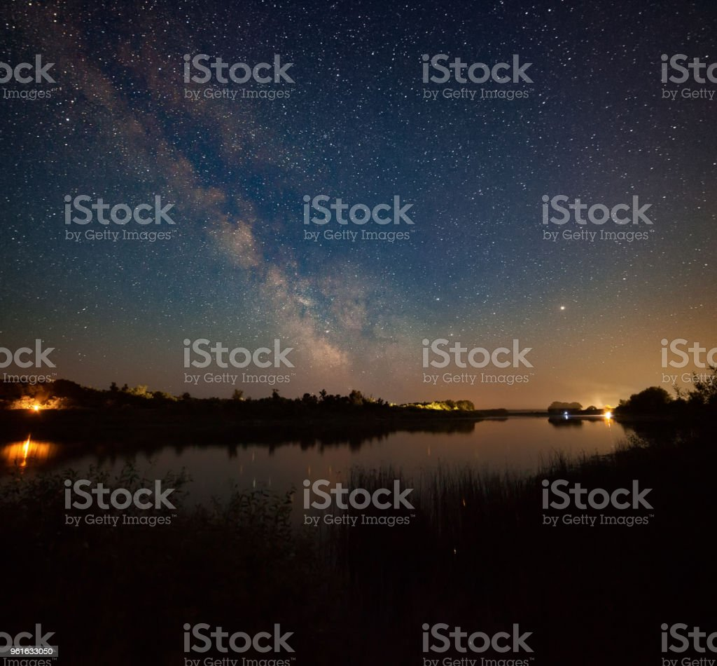 Night landscape with river stock photo
