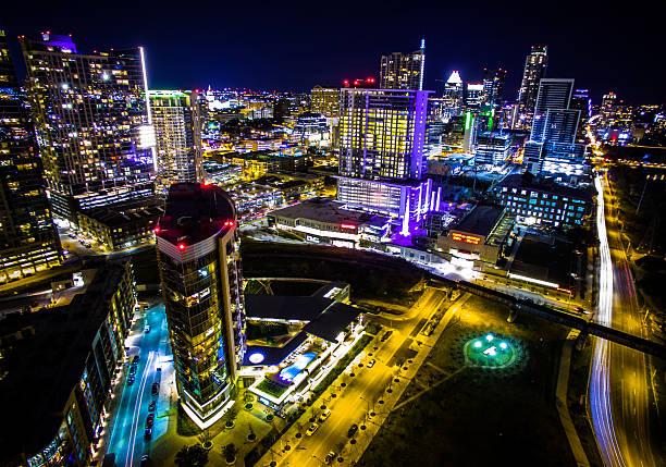 Night Lapse Austin Texas Aerial Cityscape Capitol City Lights stock photo