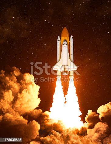 Night Launch Of The American Space Shuttle. 3D Illustration.
