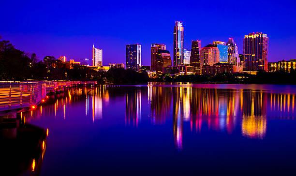 Night Life Austin Texas RiverSide Pedestrian Walking Bridge Mirror City stock photo