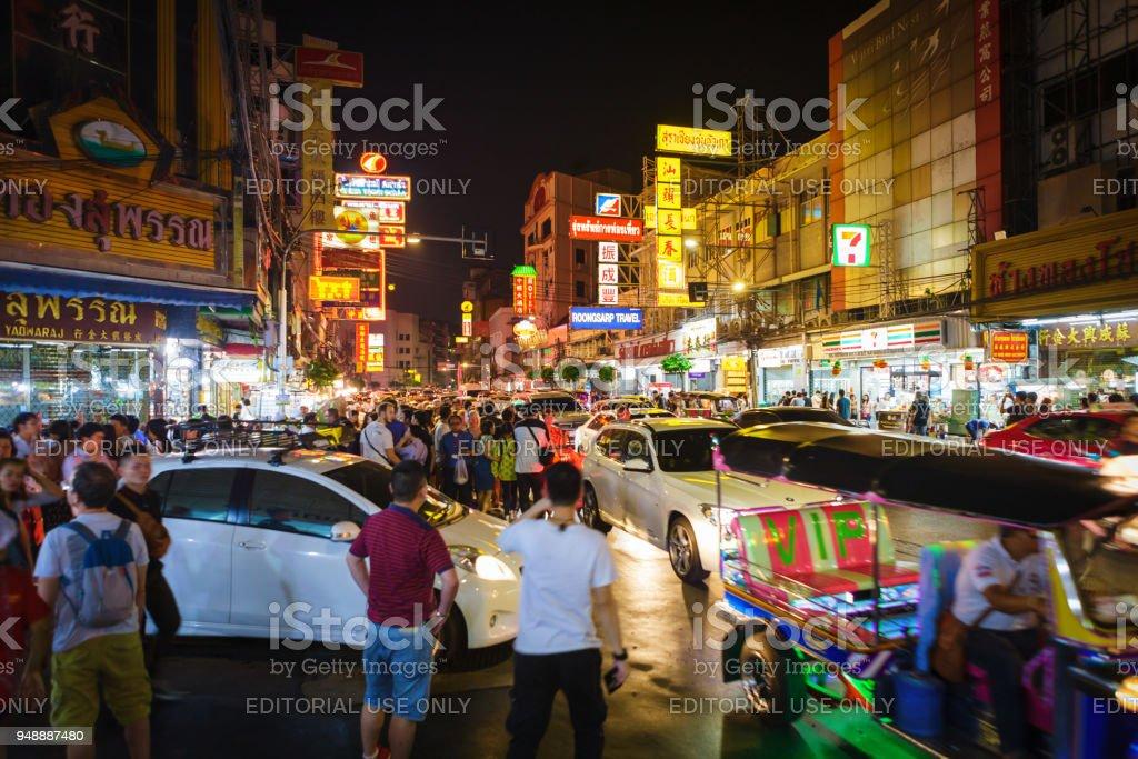 Night life in Chinatown, Bangkok stock photo