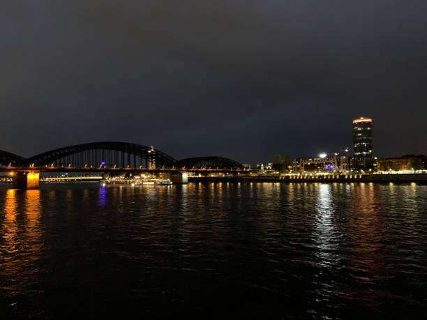 Night life view of city and its bridge stock photo
