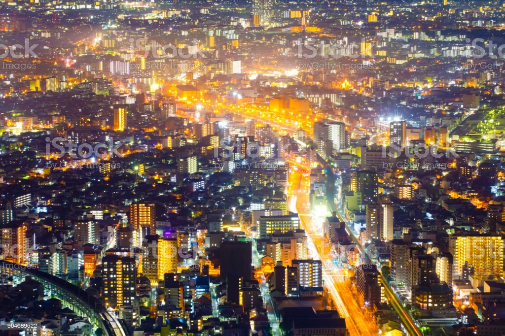 Night light cityscape view with modern building in japan royalty-free stock photo