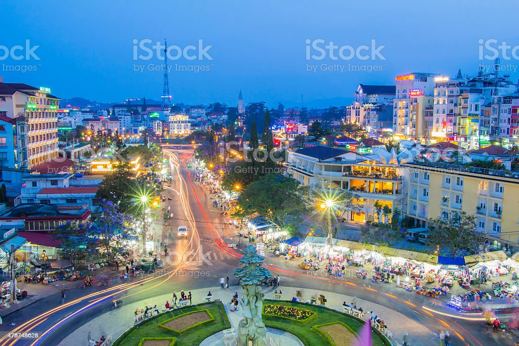 night light dalat city vietnam landmark city center stock photo