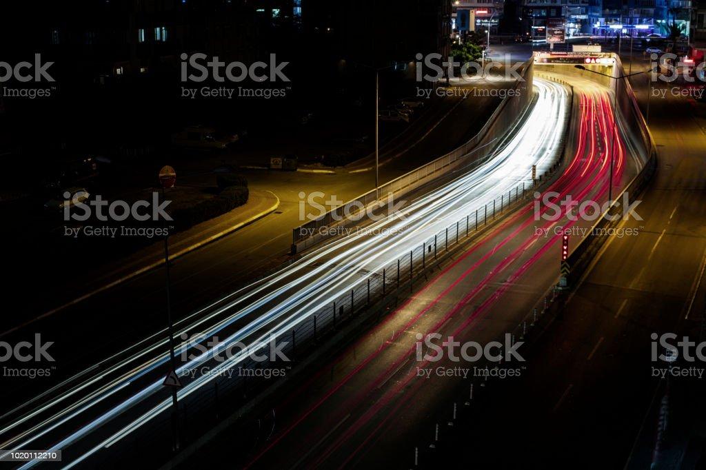 Gece ışık uzun pozlama stok fotoğrafı