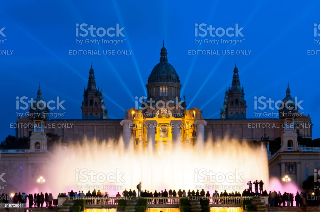Night light show at Magic Fountain or Font Magica located in Montjuic, Barcelona, Catalonia, Spain stock photo