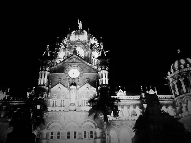 Night Light View of Chhatrapati Shivaji Terminus Railway Station stock photo