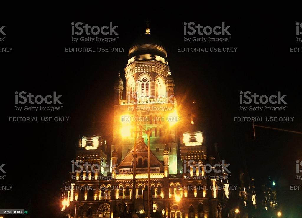 Night Light View of Muncipal Corporation of Greater Mumbai Mumbai, India - 16 Oct, 2015: Night Light View of Muncipal Corporation of Greater Mumbai (MCGM) opposite Chhatrapati Shivaji Terminus Railway Station. Architecture Stock Photo