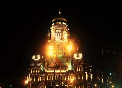 Night Light View Of Muncipal Corporation Of Greater Mumbai Stock Photo - Download Image Now