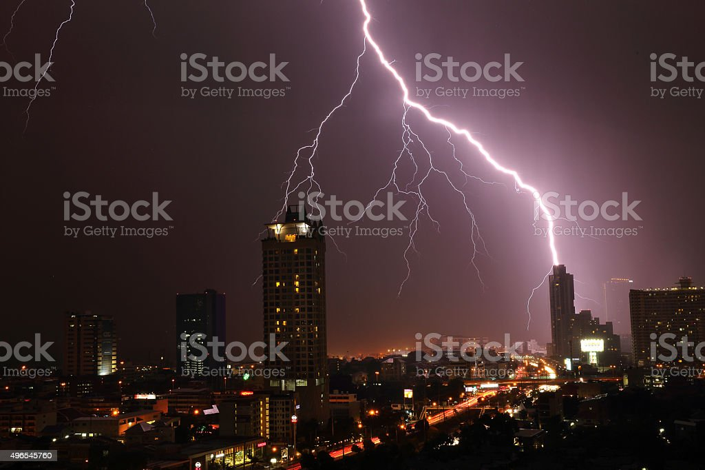 Night Lightning over city stock photo