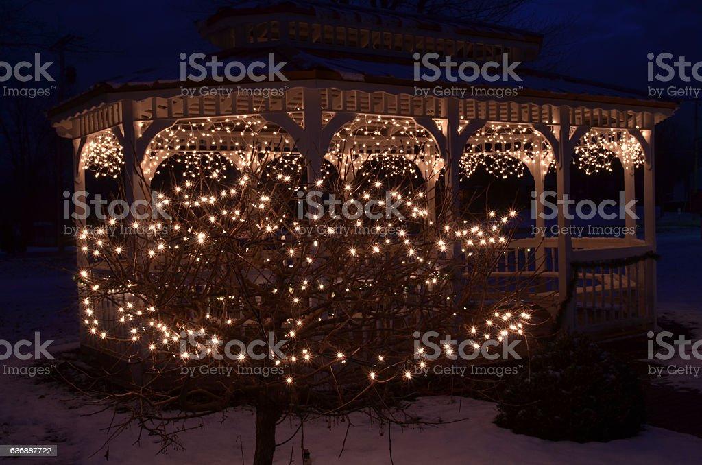 Christmas Bush Lights.Night Lights Christmas Outdoor Decorations Bush Gazebo Stock