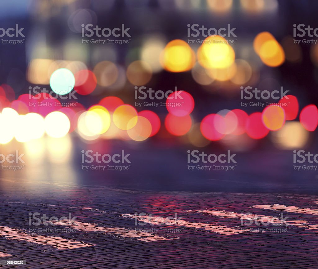 night lights in city and zebra crossing stock photo