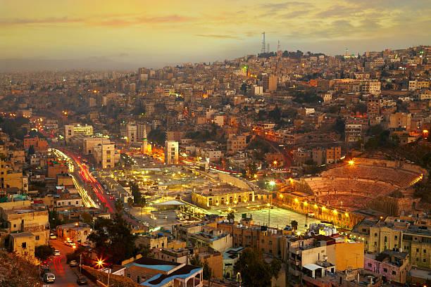 Luces de noche de Amán-capital de jordania - foto de stock