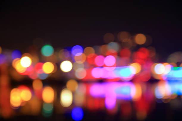 Night lights of the coastal city.