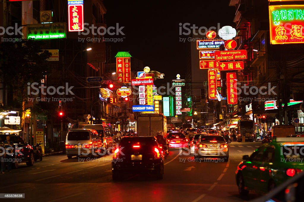 Night lights of Yaowarat Road stock photo