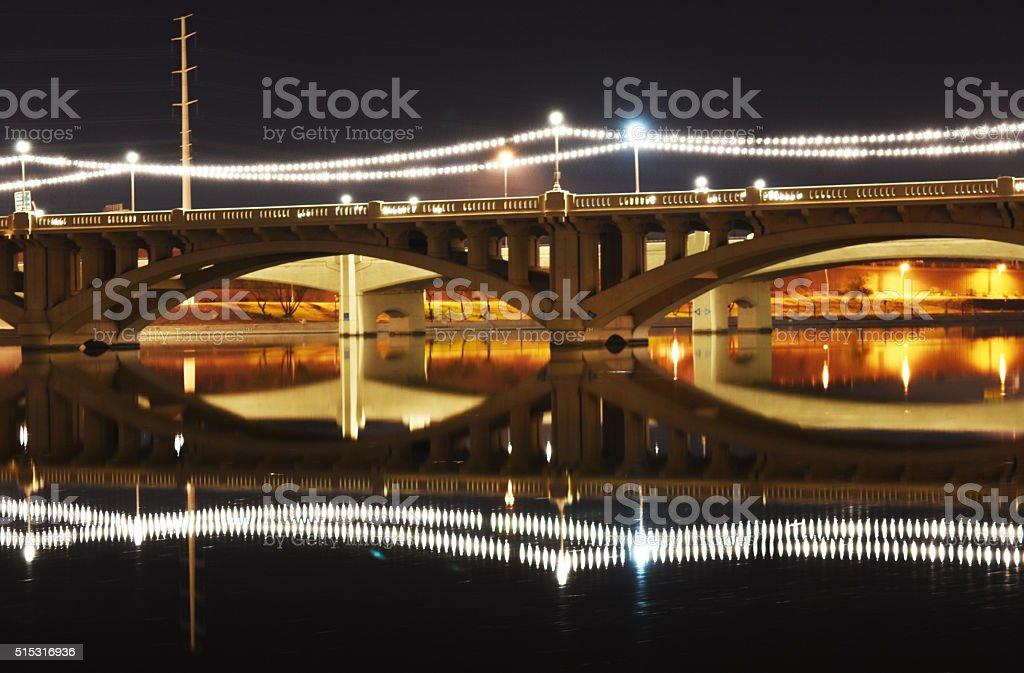 Night Lights on Bridge stock photo
