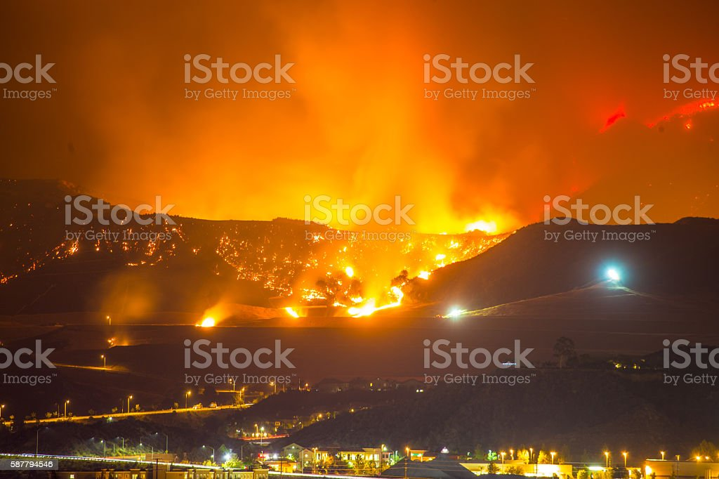 Night long exposure photograph of the Santa Clarita wildfire stock photo