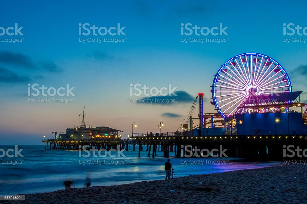 Night Los Angeles, Ferris Wheel in Santa Monica. California USA stock photo