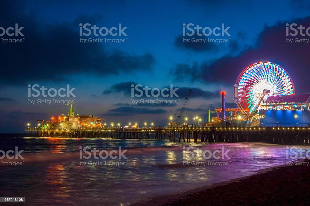 Night Los Angeles, Ferris Wheel in Santa Monica. California USA stock photo