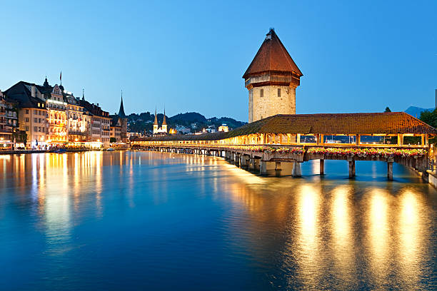 night lucerne, switzerland - lucerne stock pictures, royalty-free photos & images