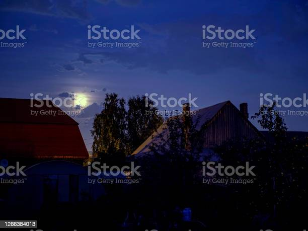 Photo of night lunar landscape in the countryside in autumn