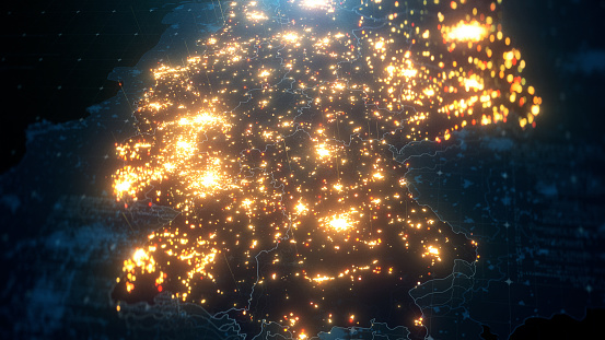 Night Map of Germany with City Lights Illumination. 3D render