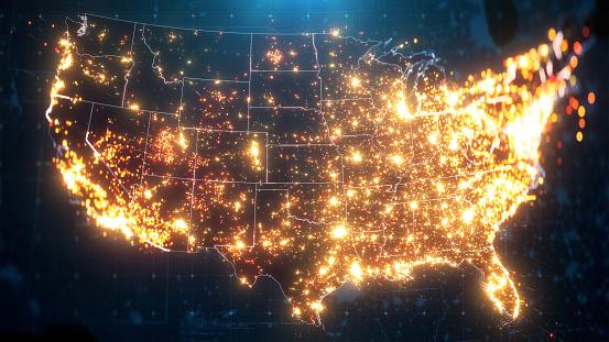 Night Map of USA with City Lights Illumination. 3D render