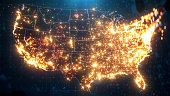 istock Night Map of USA with City Lights Illumination 1293496370