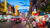 Bangkok, Thailand - September 3, 2016: Night market for vender on chinatown (Yaowarat) Road,the main street in Chinatow, once of Bangkok landmark and important street for more foods very delicious for thai-chinese style. Photo taken on: 3 September  , 2016