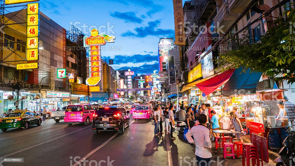 Night market for Chef cooking  on chinatown (Yaowarat) Road. stock photo