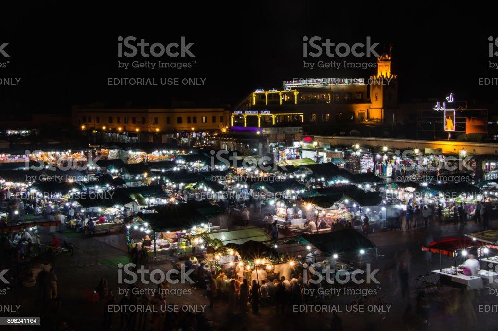 night market in Djemaa El Fna square stock photo