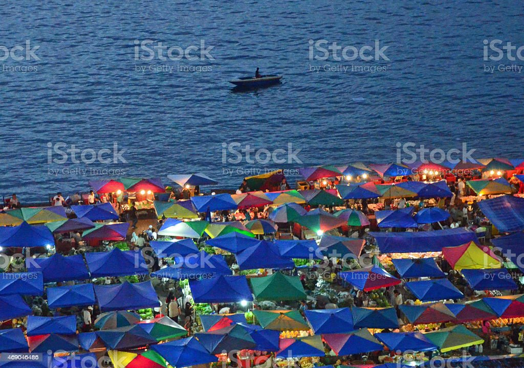 Night market in Kota Kinabalu stock photo