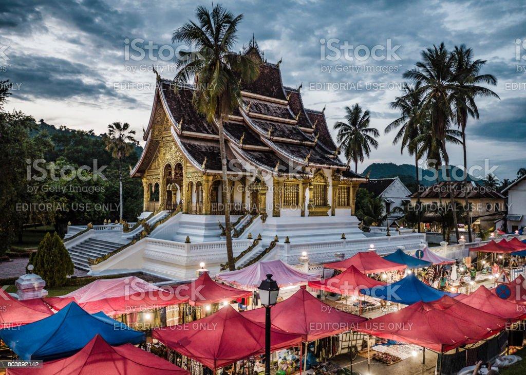 Night market in Luang Prabang Laos stock photo