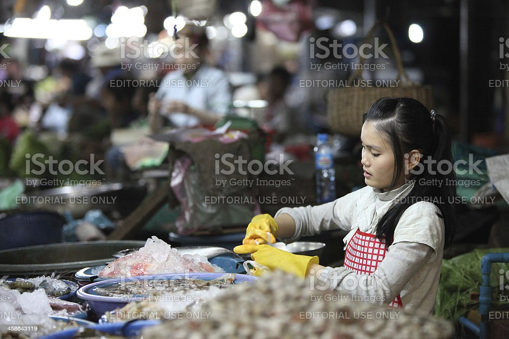 Night market in Siem Reap, Cambodia stock photo