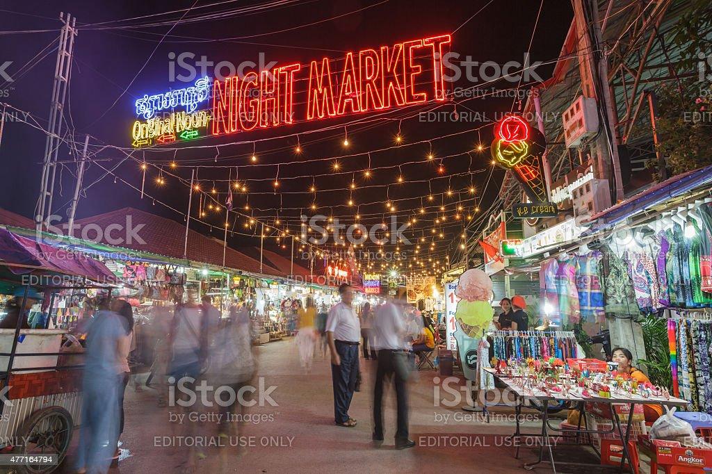 Night market of Siem Reap, Cambodia stock photo