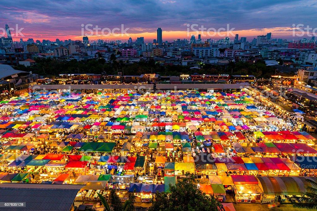 Night market, outdoor market, at Bangkok Thailand. stock photo