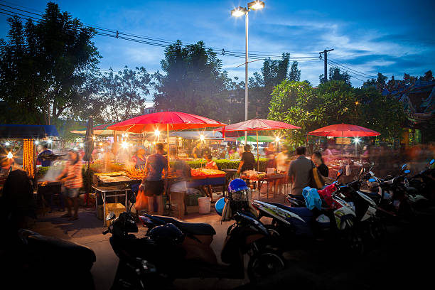 """Night market Thailand """"Night market, Thailand, long exposure"""" night market stock pictures, royalty-free photos & images"""