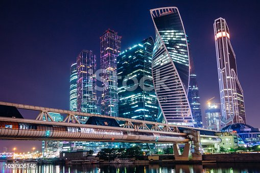 Moscow at night with illuminated summer night