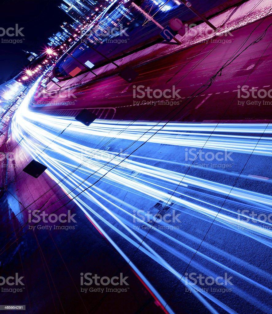 Night motion on urban streets stock photo