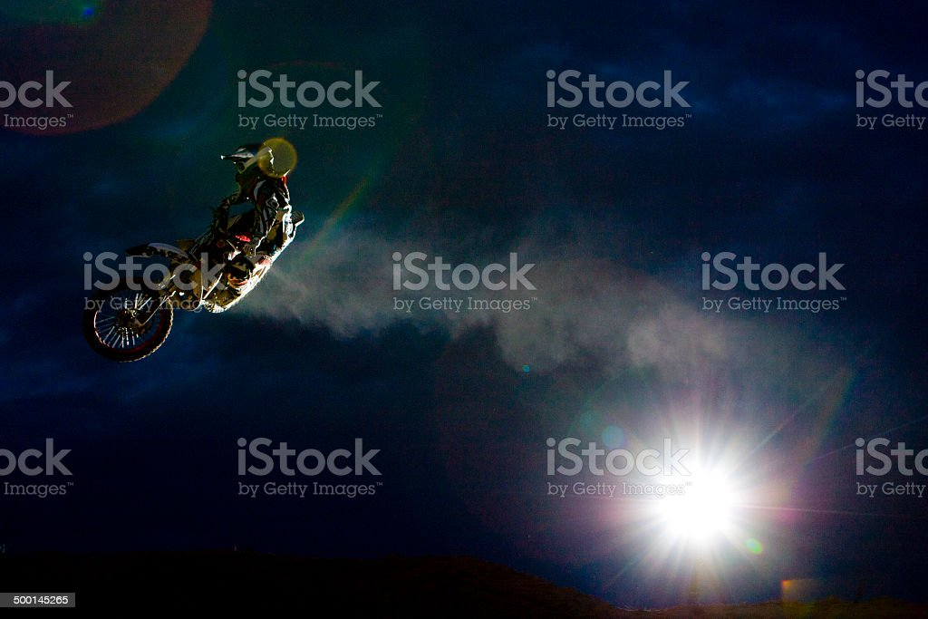 Night Motocross Rider stock photo