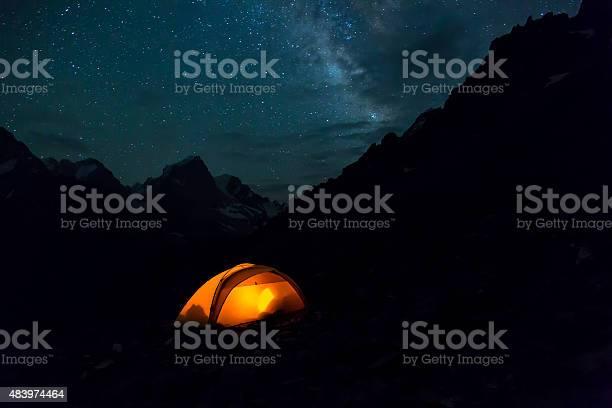 Photo of Night mountain landscape with illuminated tent