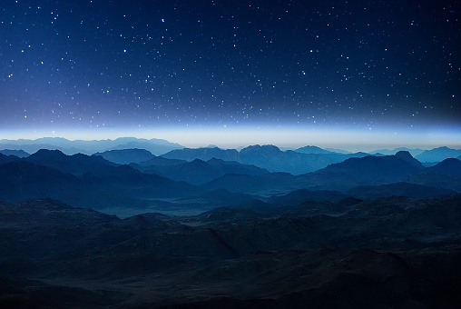 Night mountains before sunrise in the Egypt.