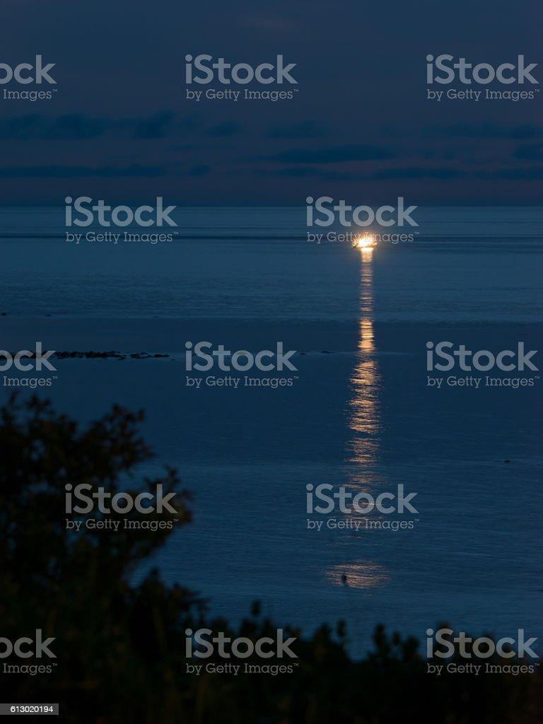 Night ocean stock photo