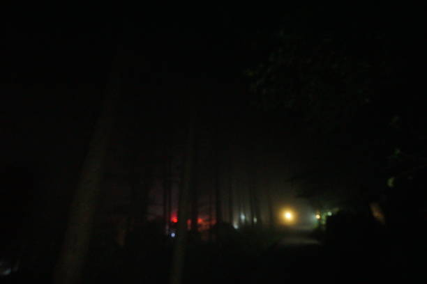 Night of fog in the yellow mountains stock photo