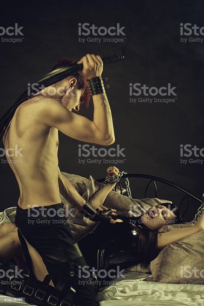 Night of pain and pleasure stock photo